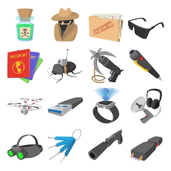 Spy cartoon icons set isolated