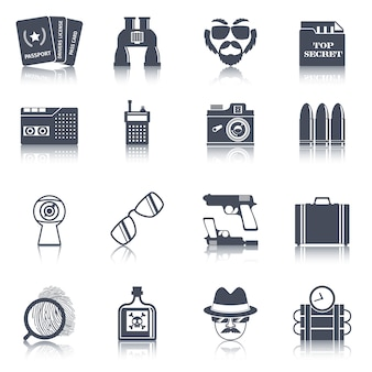 Spy gadgets black icons set