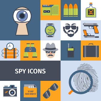 Spy gadgets flat icons composition poster