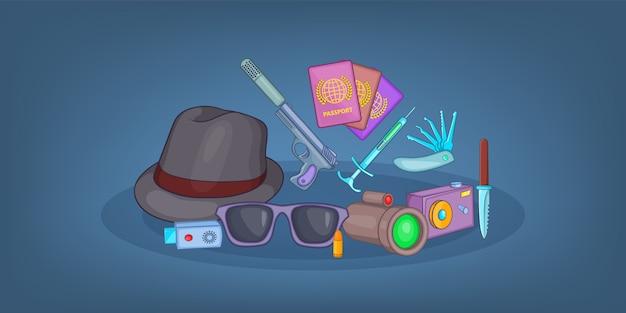 Spy horizontal background , cartoon style