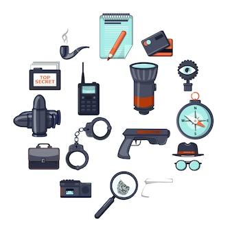Spy icon set, cartoon style