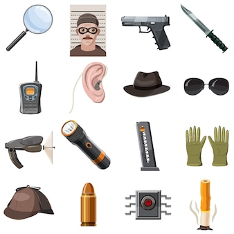 Spy icons set, cartoon style