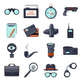 Spy icons set
