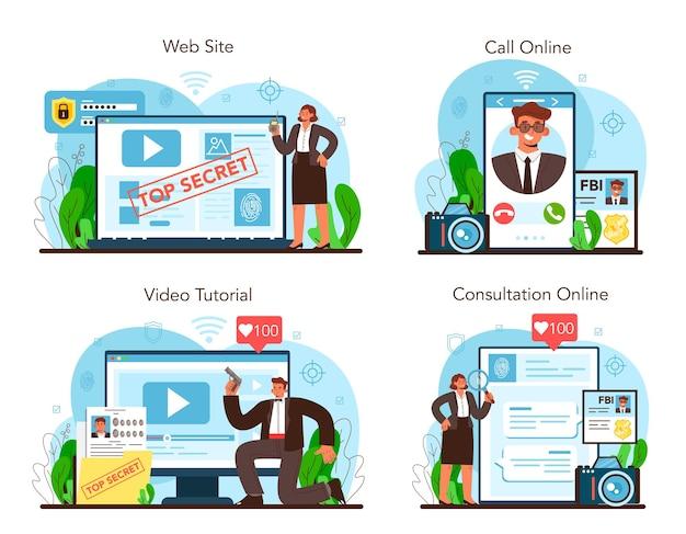 Spy online service or platform set secret agent or fbi investigating crime
