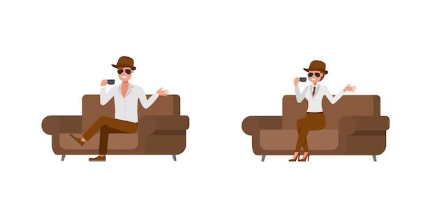 Spy secret agent character vector design. presentation in various action. no11