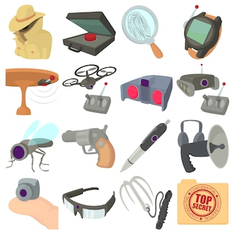 Spy and security icons set