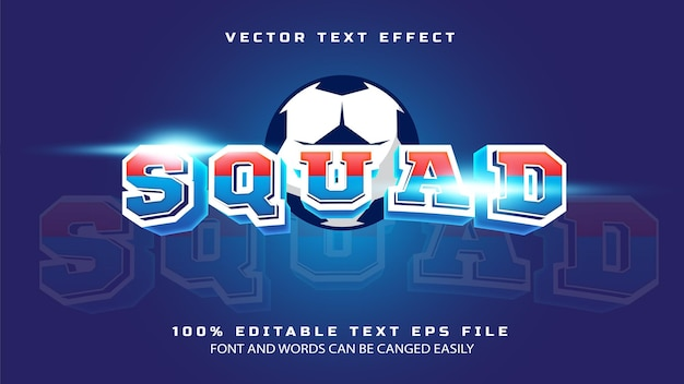 Squad sports team in 3d style text effect template