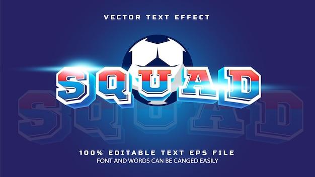 Команда спортивной команды в шаблоне текстового эффекта в стиле 3d