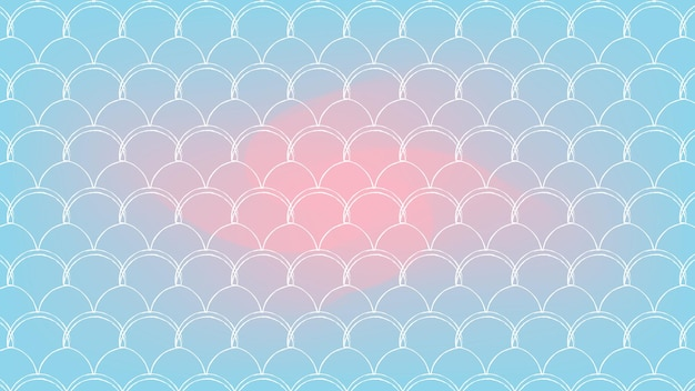 Squama on trendy gradient background. horizontal backdrop with squama ornament. bright color transitions. mermaid tail banner and invitation. underwater sea pattern. blue, rose, pink colors.