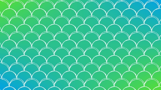 Squama on trendy gradient background. horizontal backdrop with squama ornament. bright color transitions. mermaid tail banner and invitation. underwater sea pattern. green and blue colors.