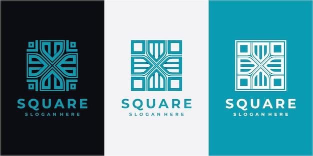 Square abstract line logo design inspiration. line square logo design concept