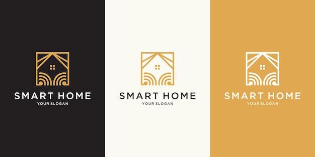 ラインアートスタイルの正方形の抽象的なスマートホームテックロゴ