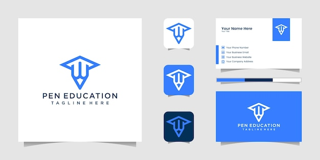 Square academic graduation cap pencil education logo and business card