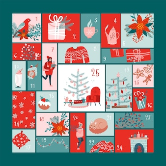 Square advent calendar with christmas elements  in flat hygge style