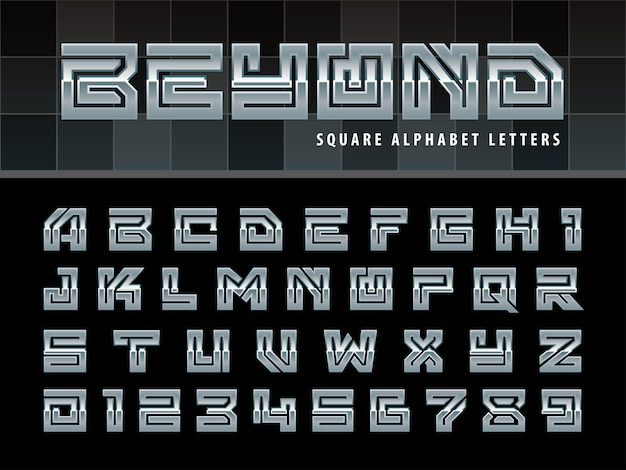 Square alphabet letters, one linear stylized rounded fonts