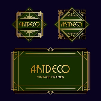 Square art deco geometric frame text