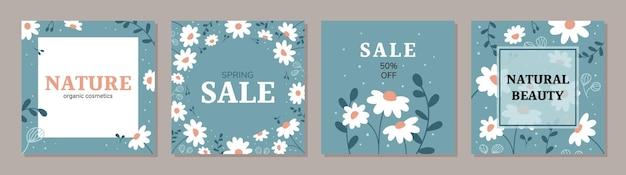 デイジーの花のソーシャルメディアの投稿バナーと正方形のアートテンプレート