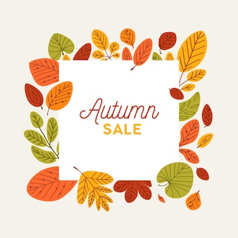 Square autumn banner template decorated by fallen tree leaves