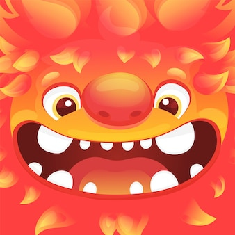 Square avatar with funny alien character with flame skin