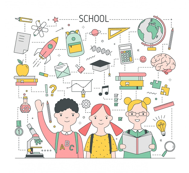 愛らしいうれしそうな子供たち、生徒やクラスメートが文房具や教育のシンボルに囲まれた学校のイラストにスクエアバック。モダンなラインアートスタイルの明るい色のベクトル図です。