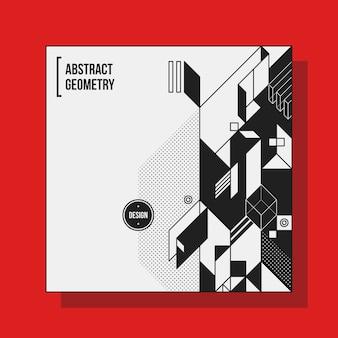 Квадратный шаблон дизайна фона с абстрактными геометрическими элементами. полезно для обложек cd, рекламы и плакатов. Premium векторы