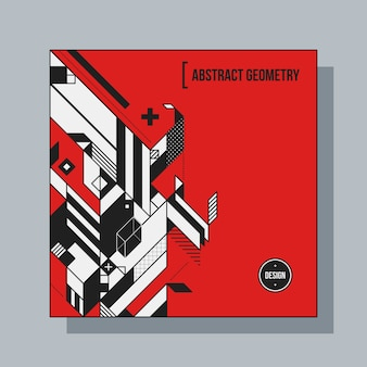 Квадратный шаблон дизайна фона с абстрактными геометрическими элементами. полезно для обложек cd, рекламы и плакатов.