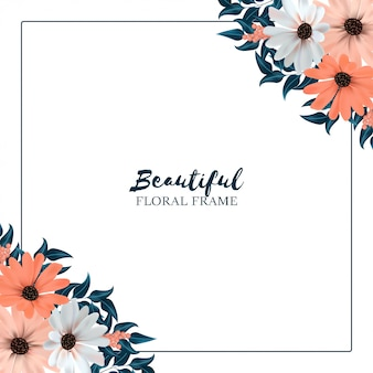 Square background with flower border