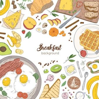 フレーム付きの正方形の背景は、朝食の食事と健康的な朝の食べ物で構成されていました-クロワッサン、目玉焼きとベーコン、トースト、果物