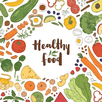 Square background with frame consisted of various healthy food