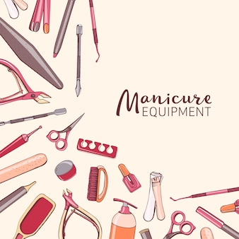 Square background with manicure equipment.