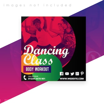 Square banner or flyer template. dancing class body workout