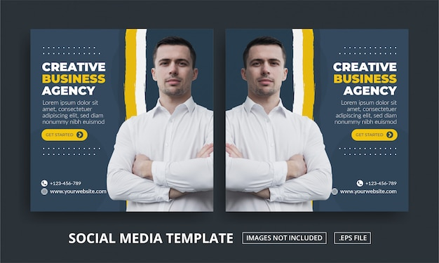 ソーシャルメディアの正方形バナーポストテンプレートビジネスエージェンシー