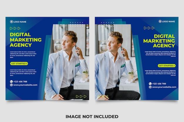 Квадратный баннер для шаблона сообщения в социальных сетях, тематический цифровой маркетинг