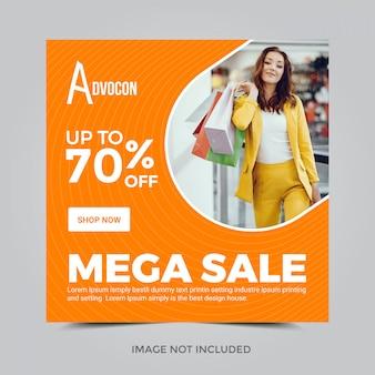 Square banner for instagram. mega sale 70% discount