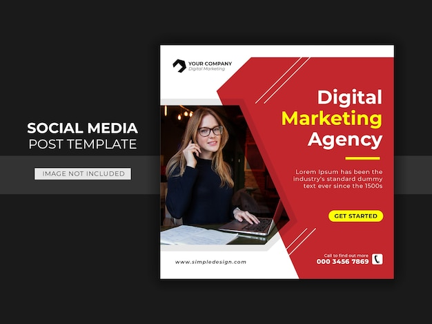 Square banner for social media post template themed business agency