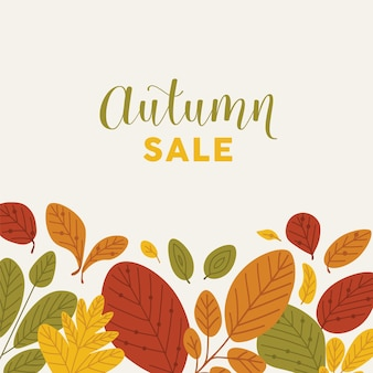 Square banner template decorated by fallen leaves or dried foliage at bottom edge and autumn sale lettering written with stylish font