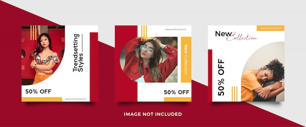 Square banner template for fashion stores