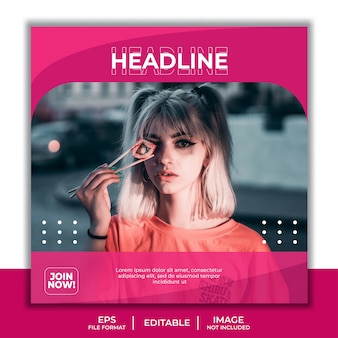 Квадратный шаблон баннера для сообщения в социальных сетях, красивая девушка фотомодель элегантный простой розовый