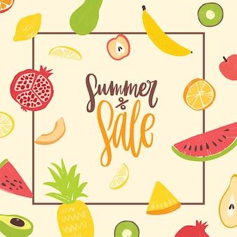 天然有機熱帯のエキゾチックなジューシーなフルーツで飾られたサマーセールの正方形バナーテンプレート。