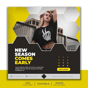 Square banner template for instagram post, beautiful girl fashion model elegant yellow and black hexagon
