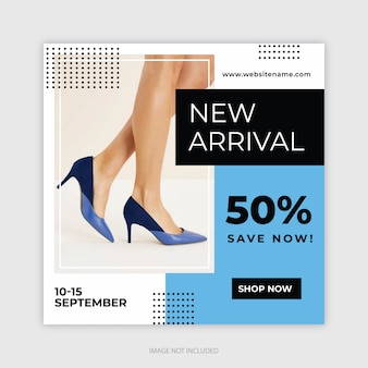 Square banner template, instagram post for fashion stores
