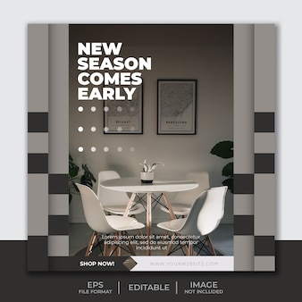 Square banner template for instagram post feed, furniture interior decoration