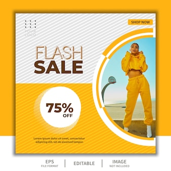 Square banner template for social media post, flash sale event with beautiful girl fashion model elegant simple yellow