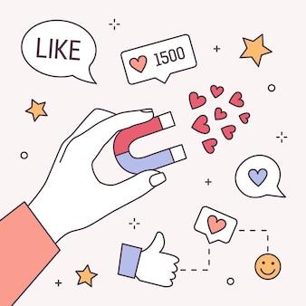 자석, 엄지 손가락 및 기호와 같은 손을 잡고 사각형 배너 템플릿. 소셜 미디어 마케팅, 콘텐츠 관리, 긍정적 인 피드백. 라인 아트 스타일에 현대 다채로운 그림입니다.