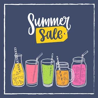 夏のセールのレタリングとスムージーの飲み物と正方形のバナーテンプレート