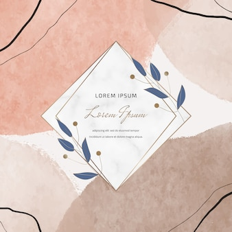 Square banners with freehand hand drawing watercolor brush stroke shapes and geometric marble frames with leaves