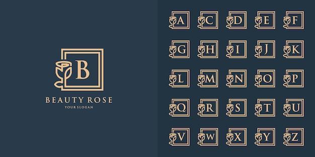 正方形の美しさのバラのロゴのコレクションの最初の文字の花飾りと文字bのロゴテンプレート