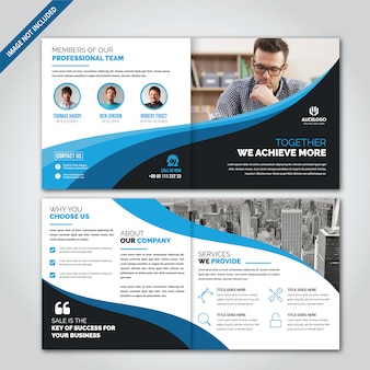 Square bi fold brochure design