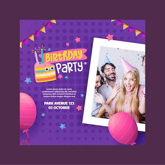Square birthday flyer template
