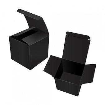 Square black cardboard plastic package box.